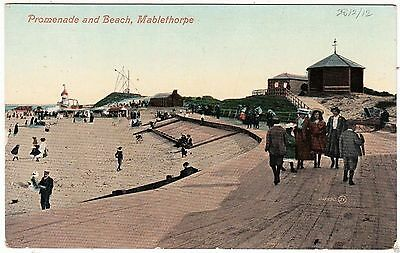 MABLETHORPE PROMENADE & BEACH - Holidaymakers - 1906 used Lincolnshire postcard