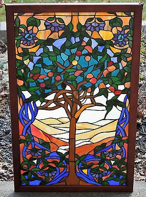 Tiffany Style Stained glass window panel, Tree Of Life 34 by 21