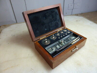 Antique box of scientific weights