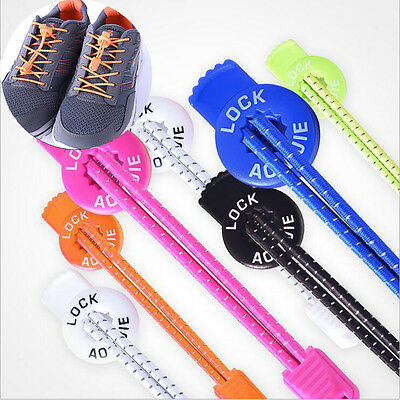 New Colorful Sport Running Reflective Quick Locking Shoelace Round Buckle