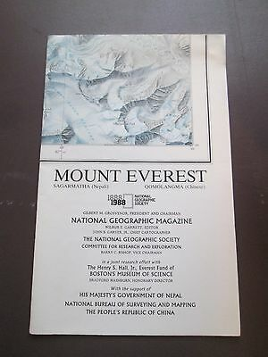 National Geographic Wall Map - MOUNT EVEREST - 1988  SHARP   SHIPS FREE!