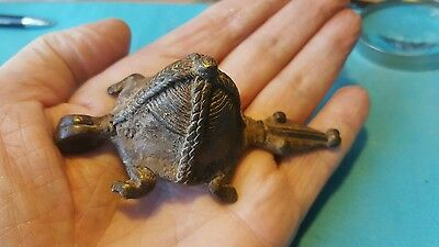 BEAUTIFUL massive unreasearched poss viking or roman bronze turtle