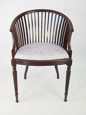 Antique Edwardian Tub Chair - Vintage Mahogany Bedroom Armchair Desk Chair