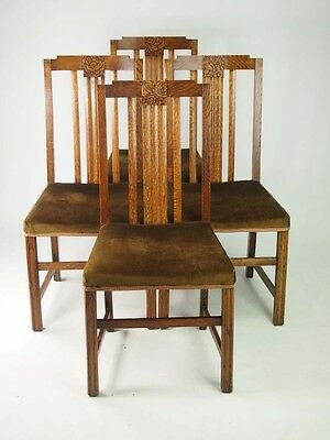 Set 4 Art Deco Oak Dining Chairs - Vintage Retro 1930s Kitchen Chairs