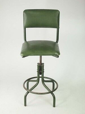 Vintage Industrial Swivel Chair -1950s Mid Century Kitchen High Back Bar Stool
