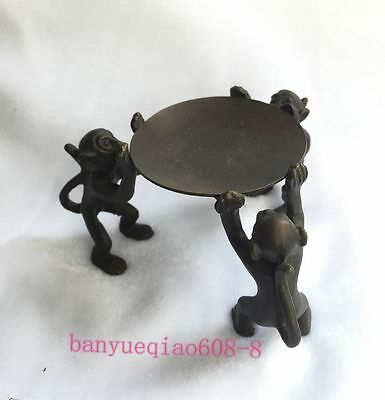 Ancient Asia China old bronze handmade monkey statue oil lamp candle holder