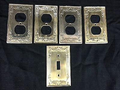 VTG Heavy Solid Brass 4 Outlet Covers 1 switch plate Victorian