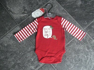 Ex store Mothercare 3-6 month Christmas long sleeve vest top BNWT