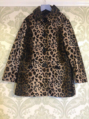 Super Cute Next Leopard Print Faux Fur Coat Age 9-10y On Trend For Winter