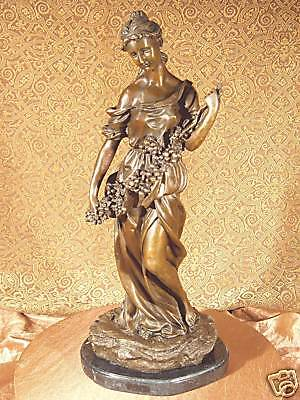 Real Bronze Metal / Stone Statue Classical Victorian Woman Girl Flower Sculpture