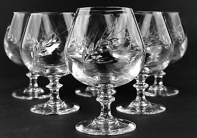 Cut Glass Crystal Brandy Glasses x 6 - Stunning