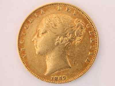 1847 Gold Sovereign British Coin Victoria Young Head Shield London Mint X50