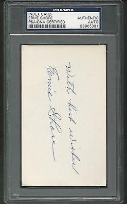 Psa/Dna Ernie Shore signed 3X5 index card Boston Red Sox Babe Ruth No-Hitter