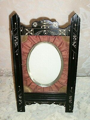 1880's Victorian Eastlake Hand Painted Picture Frame with Pleated Cloth Interior