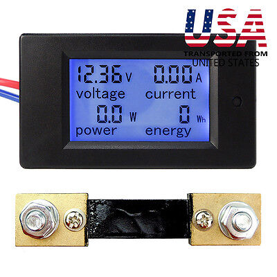 DC 6.5~100V 20-50-100A LCD Digital Display Volt Amp Power Watt Meter Combo Panel