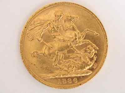 1886 Gold Sovereign Coin Victoria Young Head St George Melbourne Mint X73
