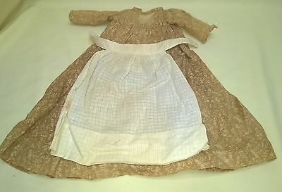 Antique Cotton Print Doll Dress & Apron China Head Bisque Head Doll $29.99
