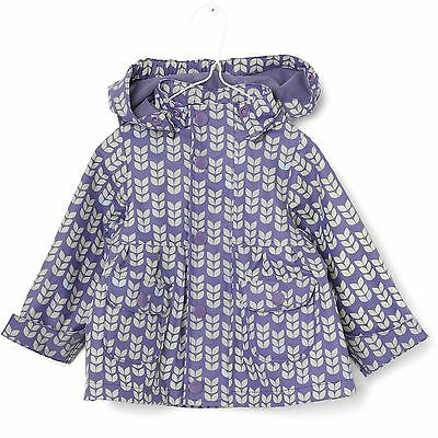 NEW SEASON Branded Mini A Ture Girls Fleeced Rain Coat in Purple Hearts RRP £40