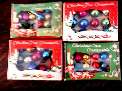 Four Vintage Boxes of Miniature Christmas Balls - Made in Japan