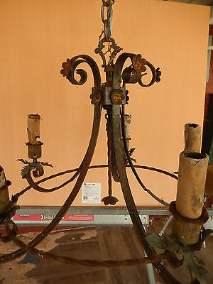 ANTIQUE 4 LAMP HANGING FIXTURE from 1916 Craftsman House