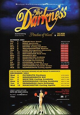 THE DARKNESS Permission To Land 2003 UK Tour PHOTO Print POSTER Band Shirt 007