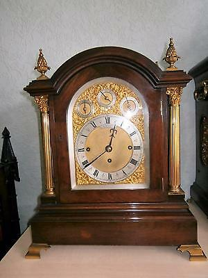 Mahogany 8 Bell & Five Coiled Gongs Two Tune Triple Fusee Bracket Clock