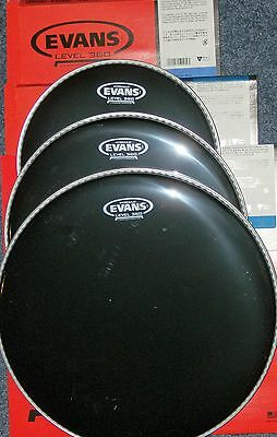 Evans BLACK Hydraulic Drum Head Pack 10 12 14 FUSION