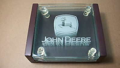 John Deere Coasters Set of 4 Etched Glass Logo with Wood Holder