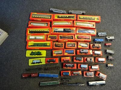 job lot of 53 Tri-ang Hornby model railway coaches, wagons etc  some boxed
