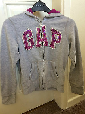 Girls Grey Gap Hooded Jacket Purple Sequin Logo Size 12-13 Years