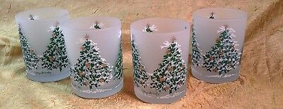 4 Georges Briard Drink Glasses Flocked Christmas Tree Frosted Barware Tumblers