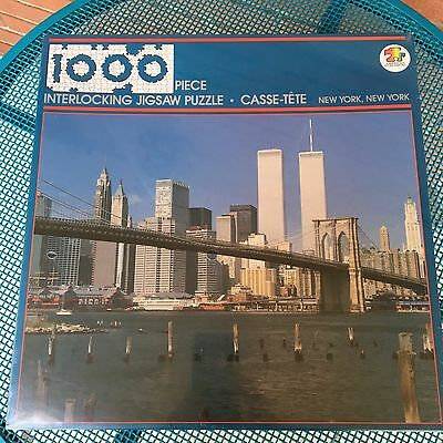 New York Jigsaw Puzzle Twin Towers Manhattan Bridge 1000 pc  23 x 29 inches