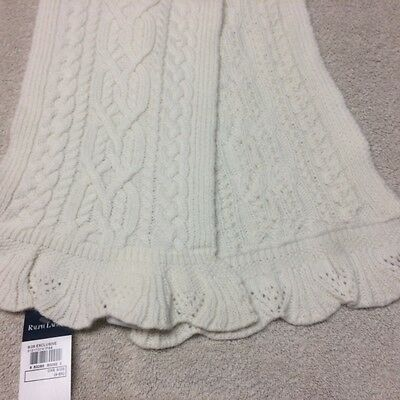 NWT Polo Ralph Lauren Girls Cable Winter White Scarf Size 4-6X Holiday Gift