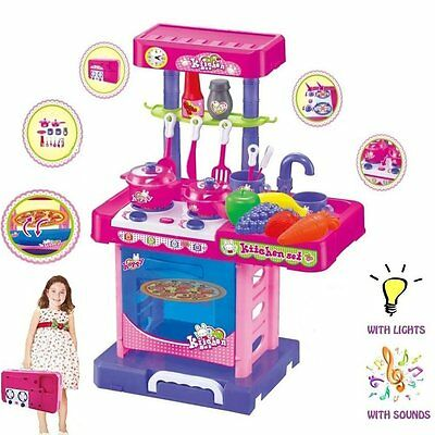 Portable Children Kids Kitchen Cooking Chef Girl Toy Cooker Play Set Pretend New