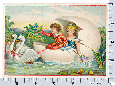 Victorian Trade Card - Children in Egg Boat Drawn by Swans - AG Vail NYC Butter