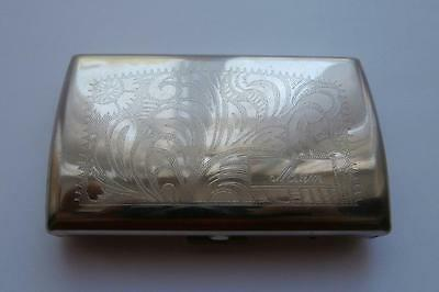 Vintage Floral & 'Mum' Engraved Design Chrome Silver Metal Small Cigarette Case