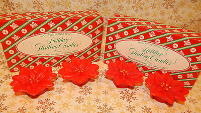 Vintage Avon Christmas Floating Candles Poinsettias New #082