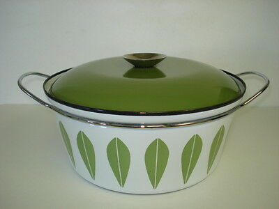 """Mid-Century Cathrineholm Norway Green White  Lotus 10 1/2"""" Pot For Display Only"""