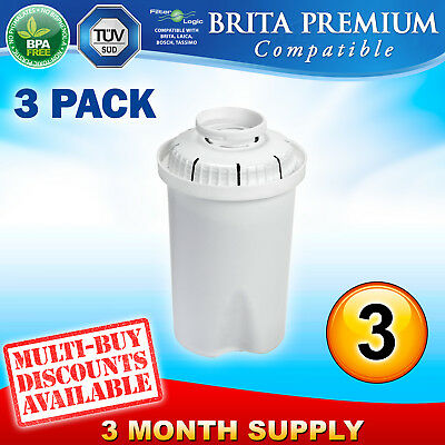 3 x FL601 Replacement Water Filter Compatible with Brita Classic Jug Cartridge