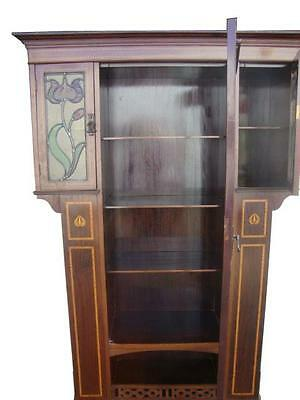 Superb Quality Art Nouveau Inlaid Bookcase