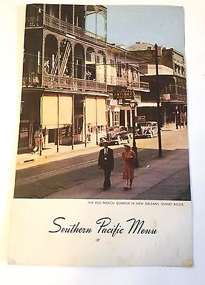 RARE VINTAGE Southern Pacific Railroad New Orleans WWII DATED 1940s MENU