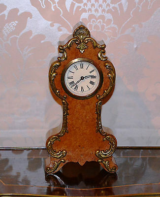 Antique Miniature Burr Maple wood Clock with Ormolu Mounts