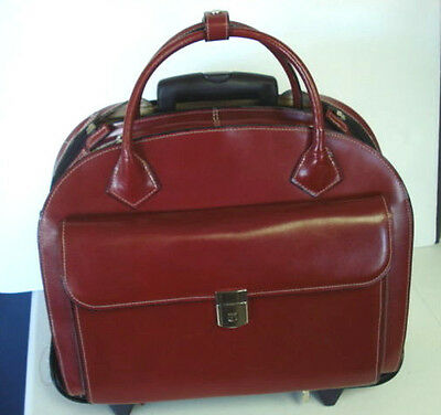 Mcklein Wheeled Removable Red Leather Laptop Briefcase