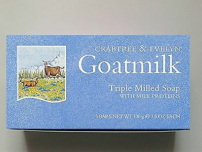CRABTREE & EVELYN GOATMILK TRIPLE-MILLED SOAP 3x100g SOAPS - BNIB