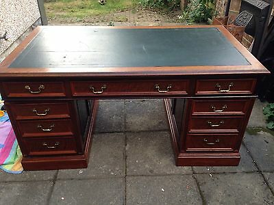 Victorian Style Antique Walnut  Pedestal Desk Stamped Harrods Delivery Available