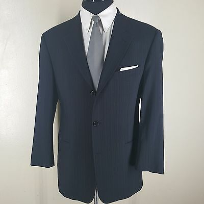 Hugo Boss Made In U.s.a. Vtg Blue Striped Suit 3 Btn No Vents Pleated Pants 42R