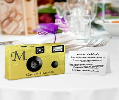 20 Monogram Gold Foil Disposable Cameras-PERSONALIZE-wedding cameras/anniversary