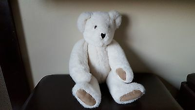 """Vermont Teddy Bear 1992 Jointed, White, 16"""""""