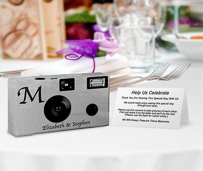 20 Monogram SilverFoil Disposable Cameras-PERSONALIZE-wedding camera/anniversary