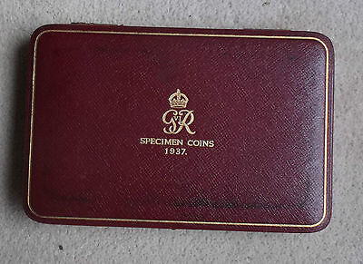 1937 Proof Coin Set Box, Silver Crown To Maundy Coins. George Vi Coronation Set.